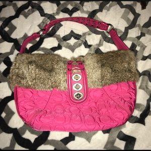 Authentic Coach rabbit fur trim pink purse EUC